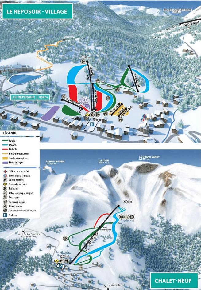 Le reposoir - Plan des pistes de ski
