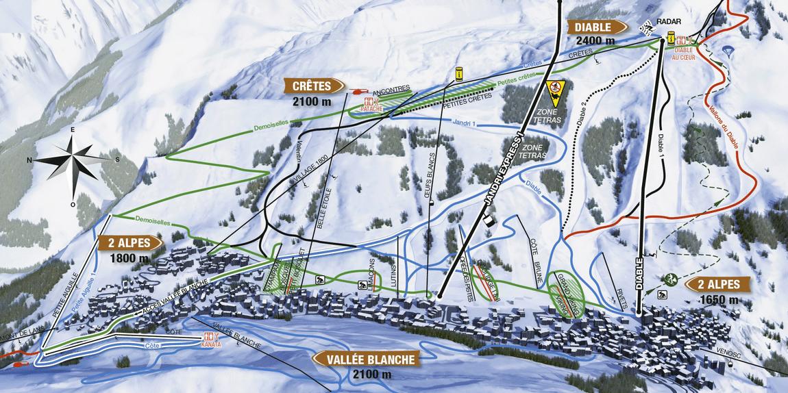 Les 2 Alpes - plan des pistes autour du village