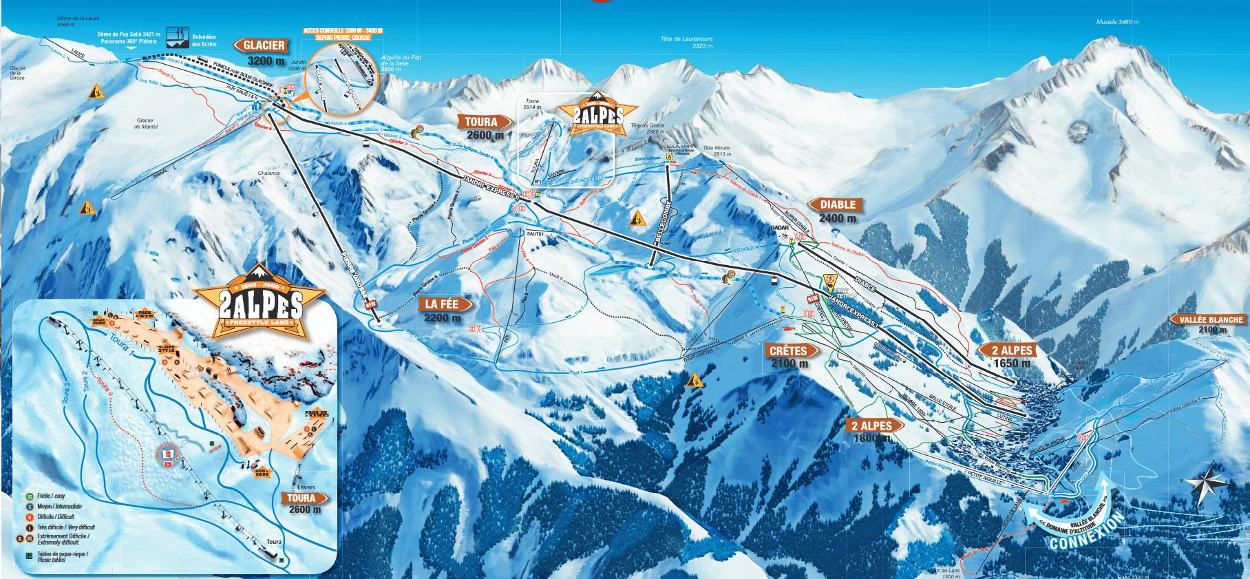 Les 2 Alpes - plan des pistes du domaine skiable