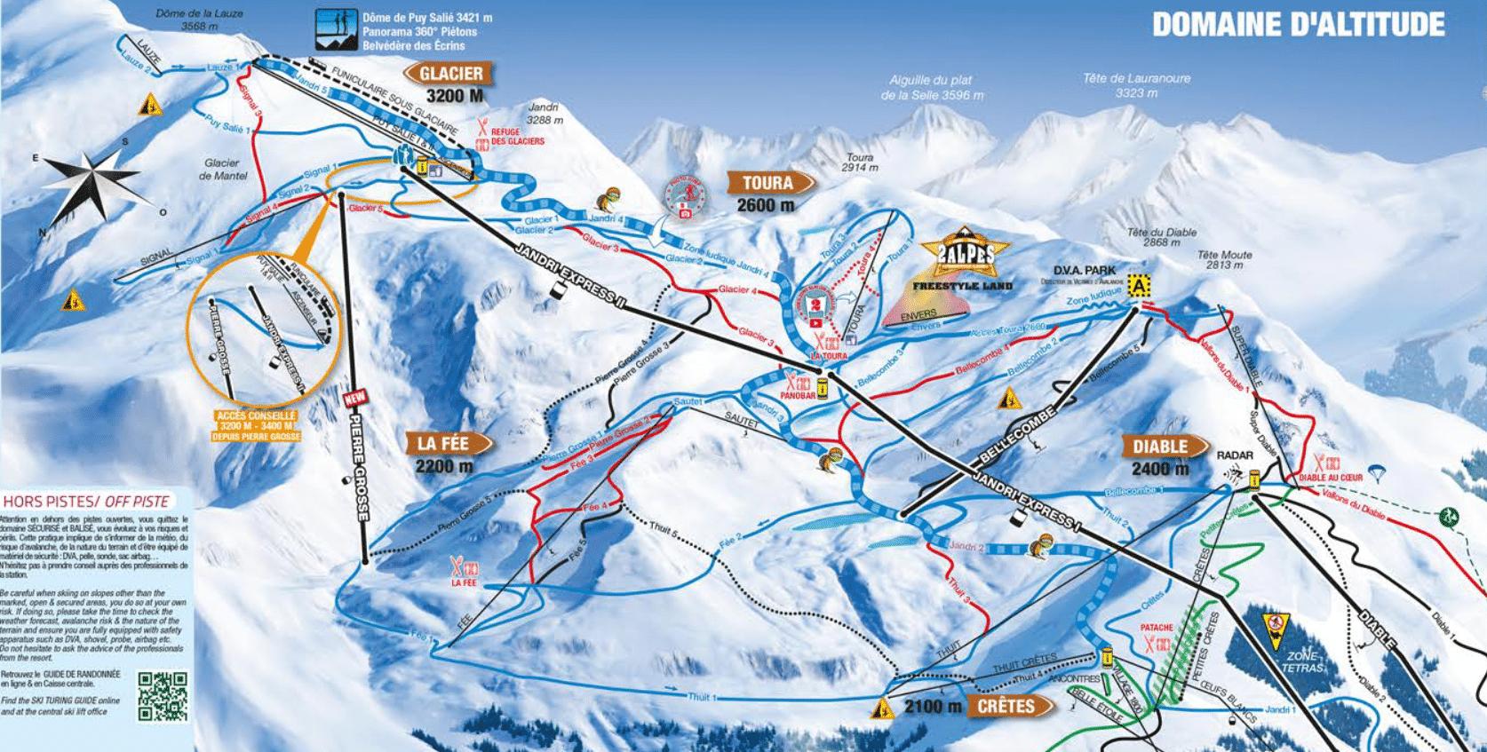 Les 2 Alpes - plan des pistes en altitude