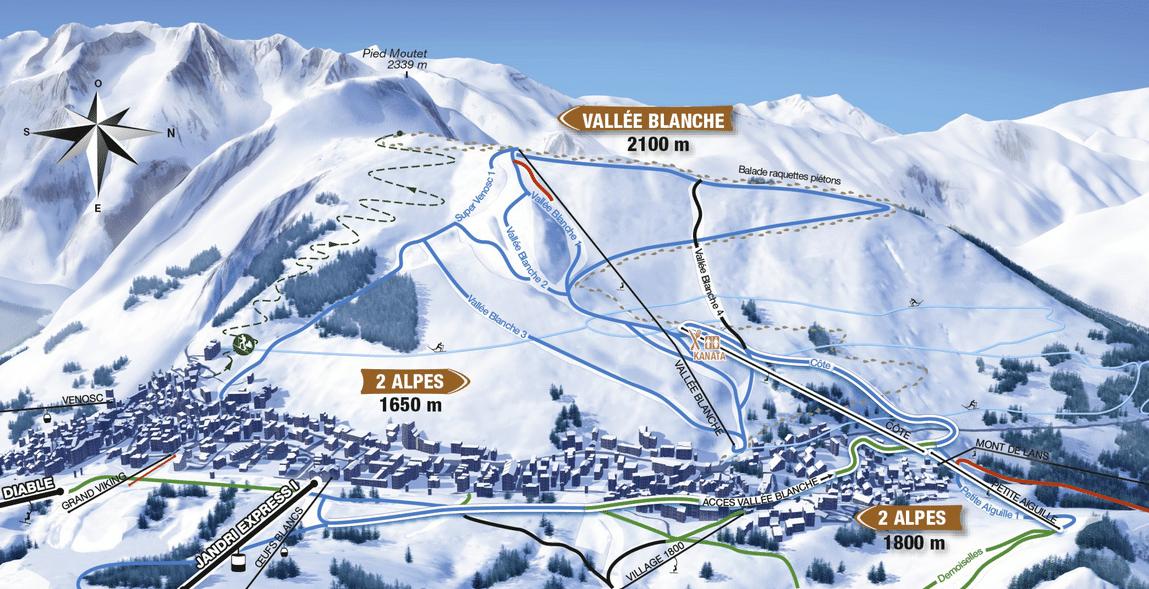 Les 2 Alpes - plan des pistes vallée blanche
