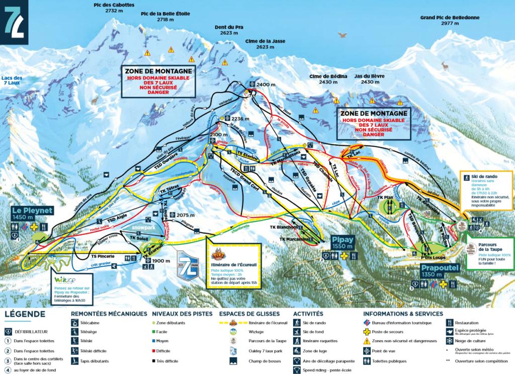Les 7 Laux - Plan des pistes de ski