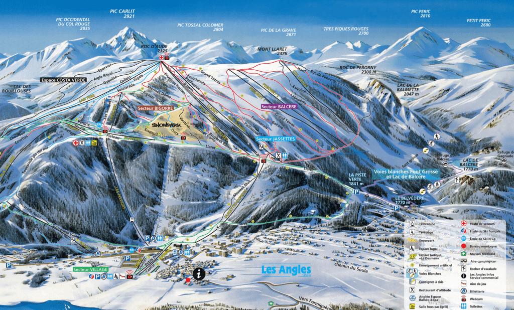 Les Angles - Plan des pistes de ski