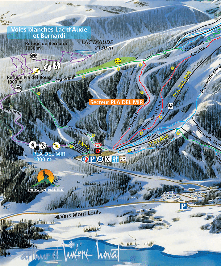 Les Angles - Secteur Pla del Mir - Plan des pistes de ski