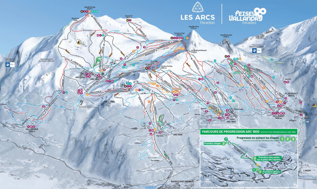 Les Arcs - Plan des pistes de ski