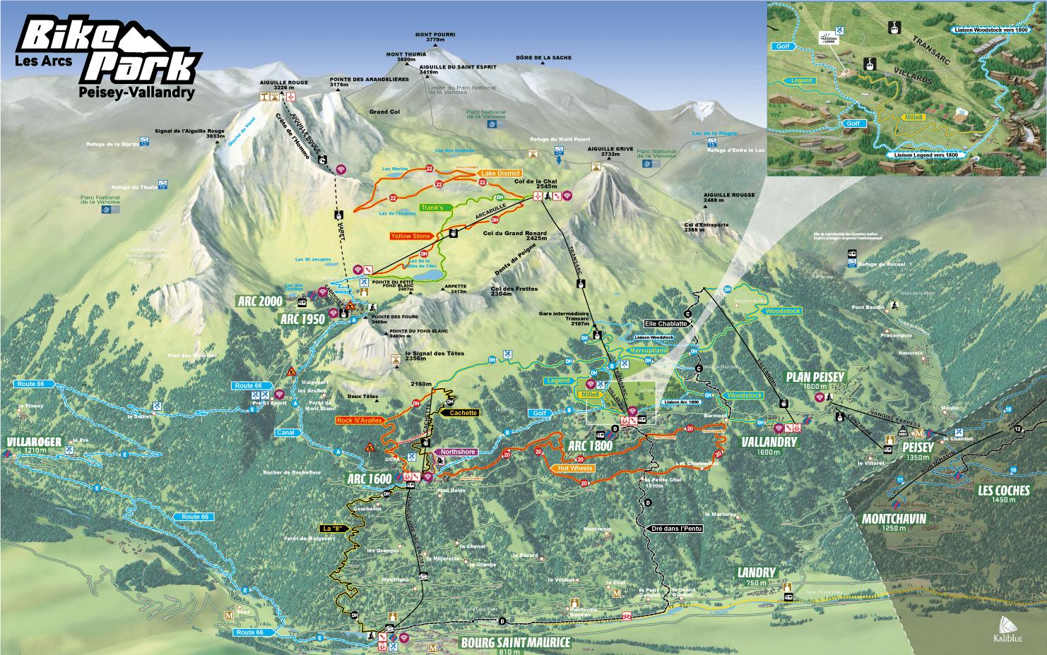 Les Arcs - plan des randonnées et descentes en VTT