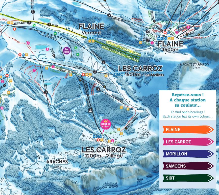 Les Carroz - Plan des pistes de ski