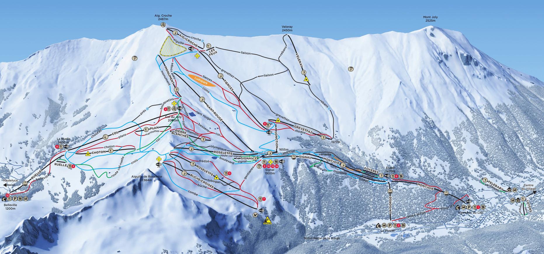 Les Contamines Montjoie - Plan des pistes de ski