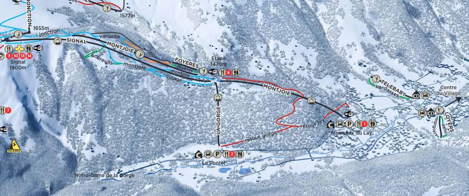 Les Contamines - Plan des pistes de retour au village