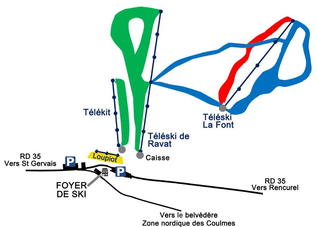 Les Coulmes - Plan des pistes de ski
