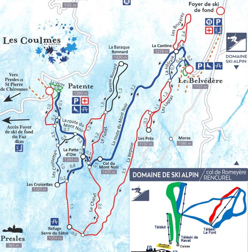Les Coulmes - Plan du domaine nordique