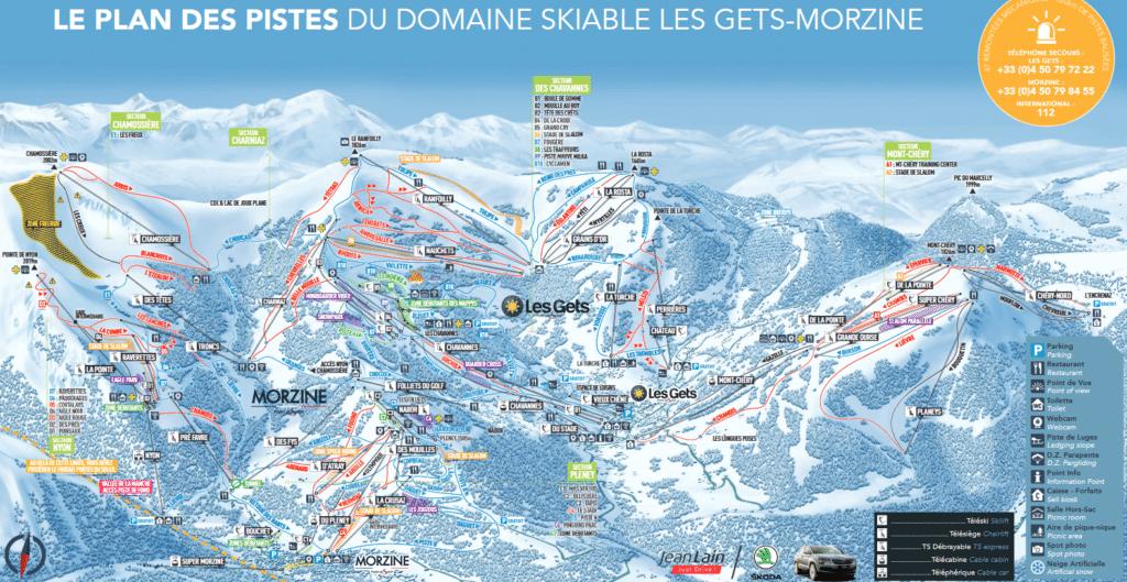 Les Gets & Morzine - Plan des pistes de ski