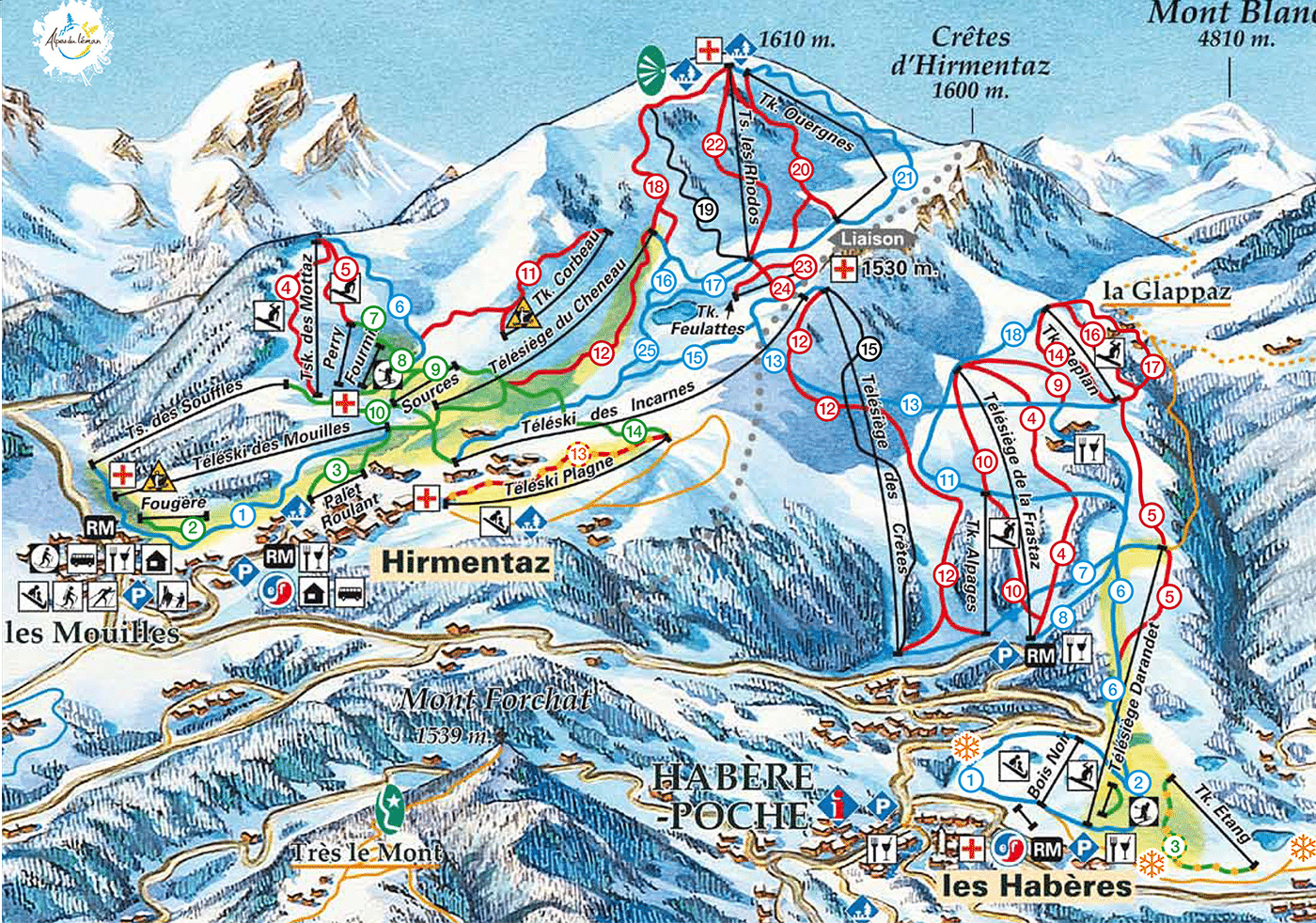 Les Habères - Plan des pistes de ski
