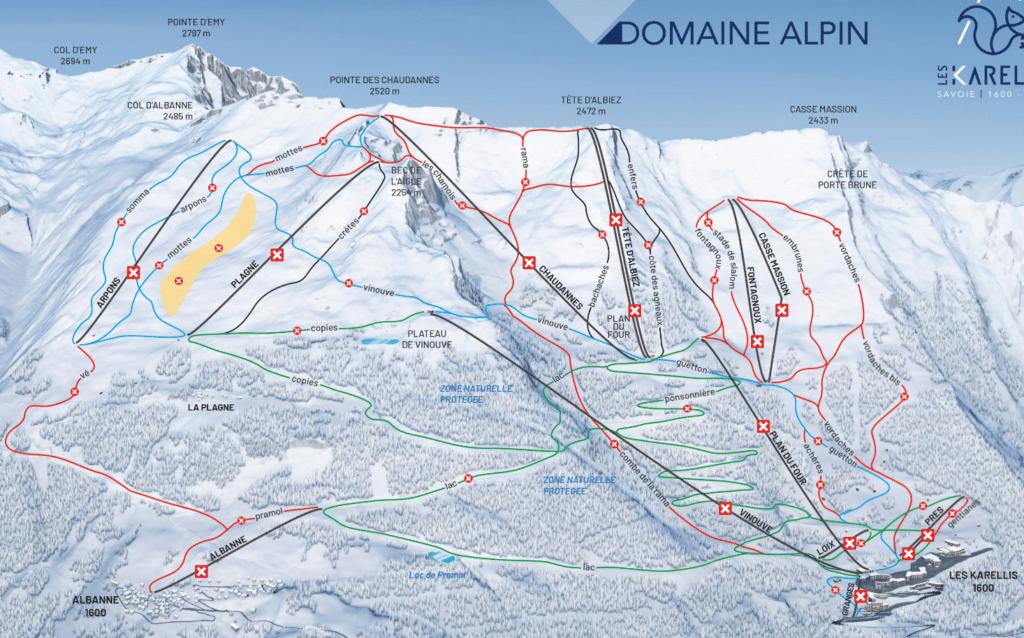 Les Karellis - Plan des pistes de ski