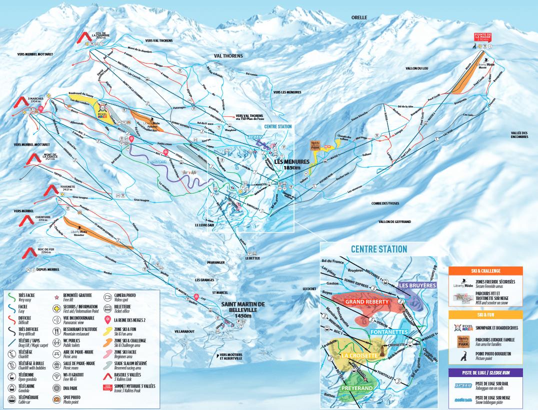 Les Menuires - Plan des pistes de ski