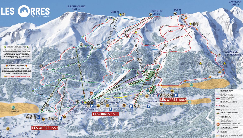 Les Orres - Plan des pistes de ski