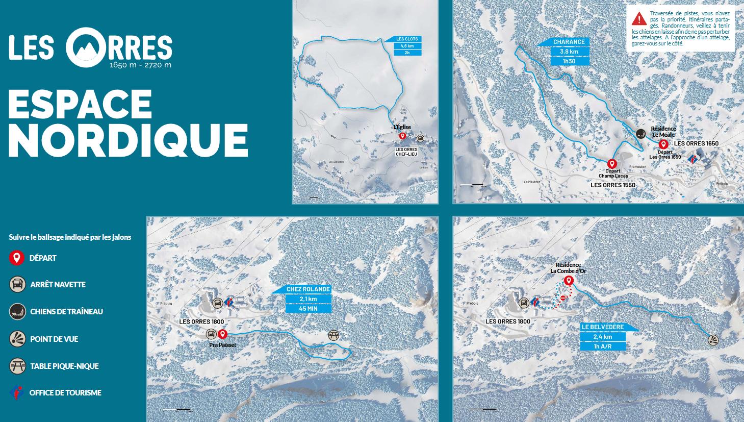 Les Orres - Plan du domaine nordique