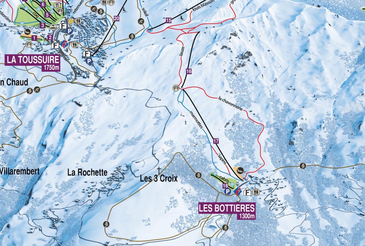 Les bottières - Plan des pistes de ski