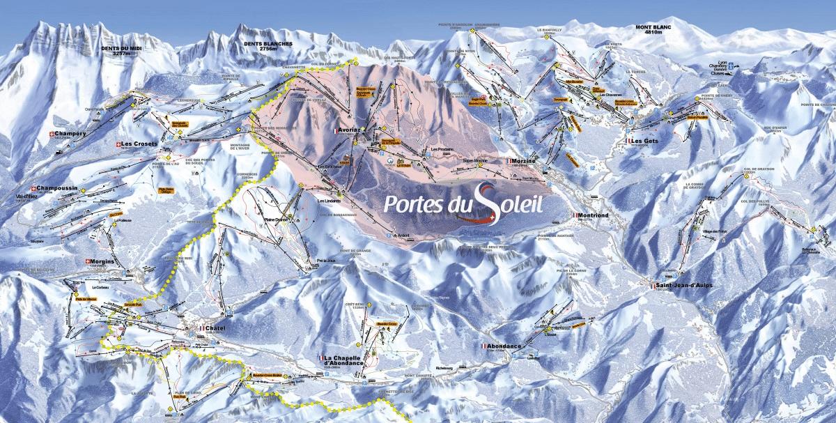 Les portes du Soleil - plan du domaine skiable
