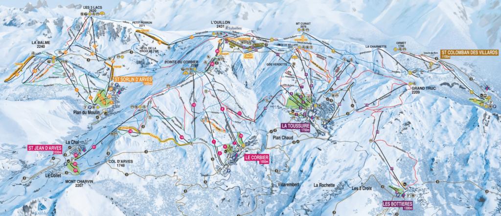 Les sybelles - Plan des pistes de ski