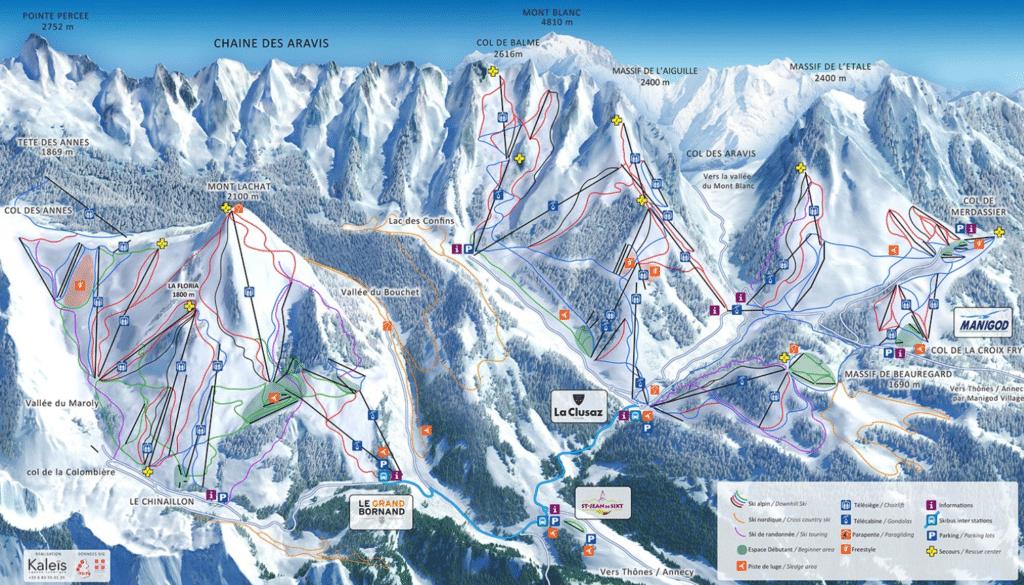Massif des Aravis - Plan des pistes de ski