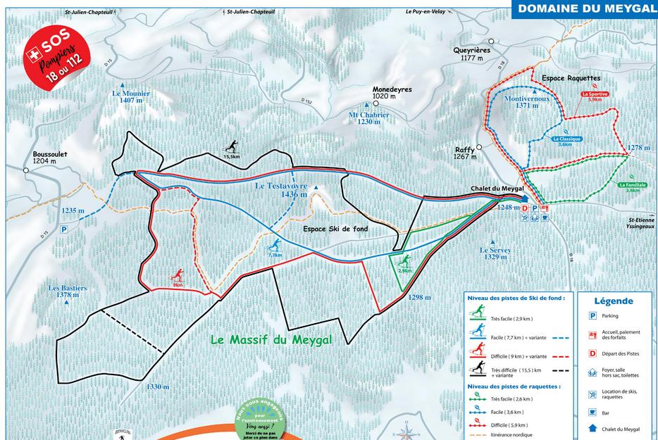 Meygal - Plan du domaine nordique