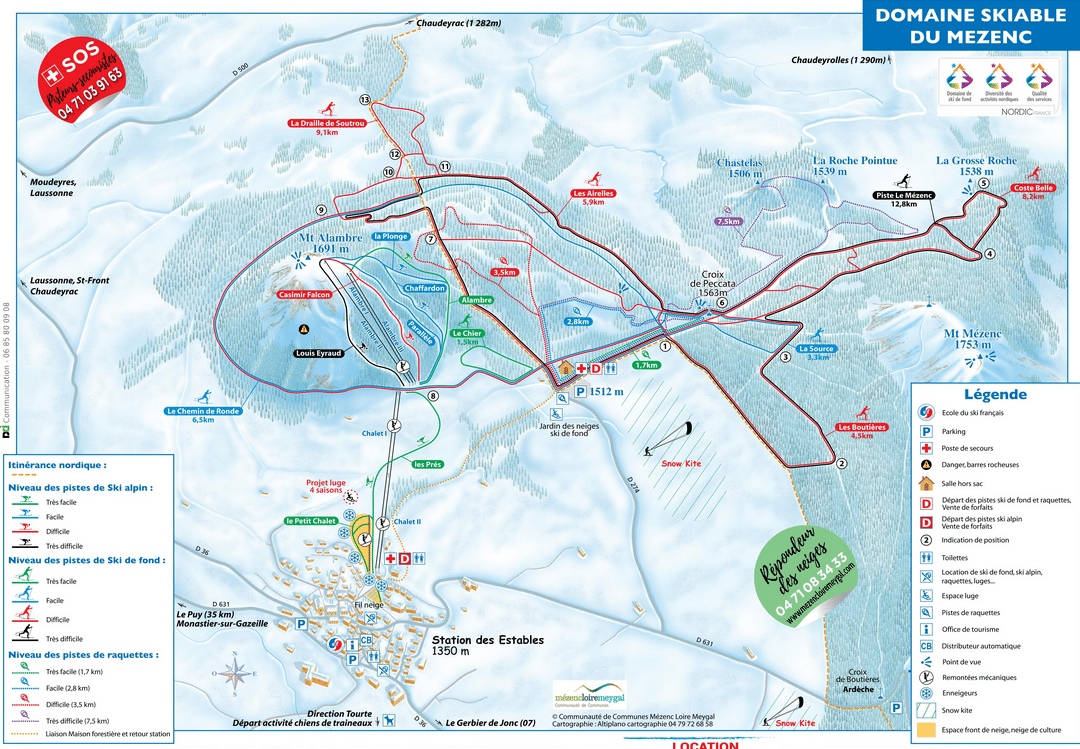Mezenc - Les Estables - Plan des pistes de ski
