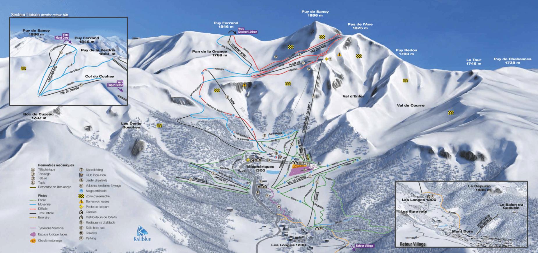 Le Mont Dore - Plan des pistes de ski