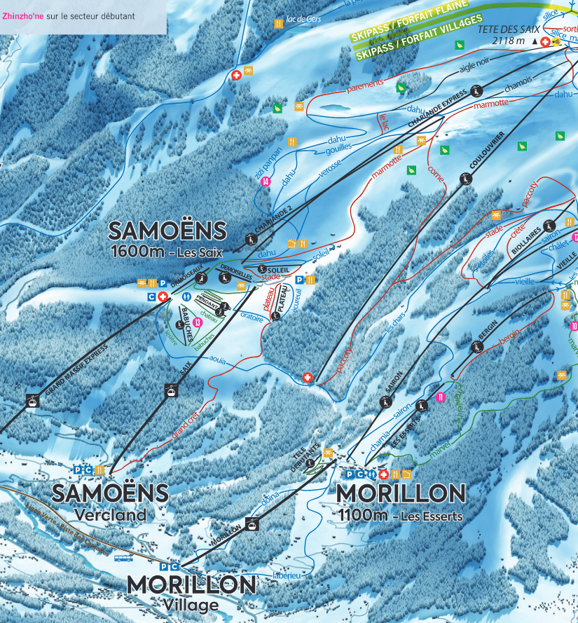 Morillon - Plan des pistes de ski
