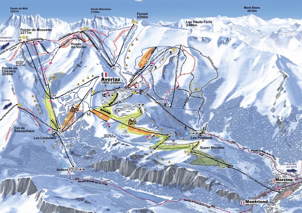 Morzine - Avoriaz - Plan des pistes de ski