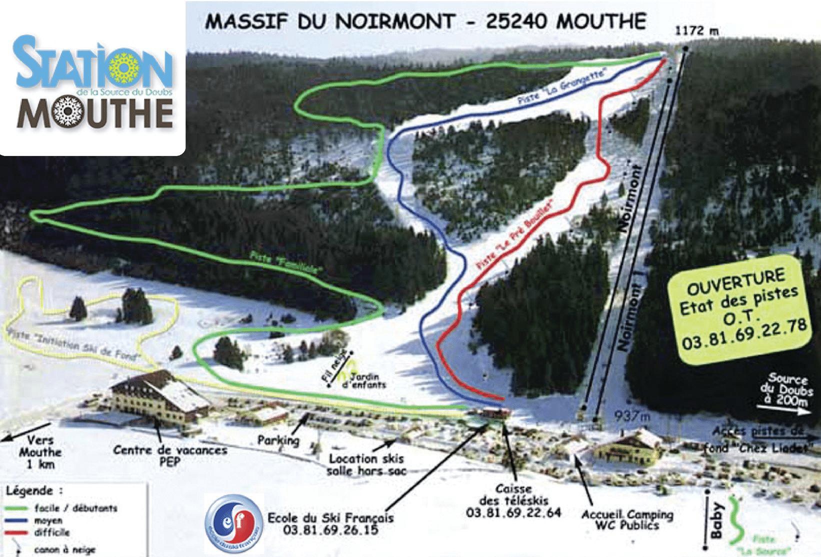Mouthe - Plan des pistes de ski