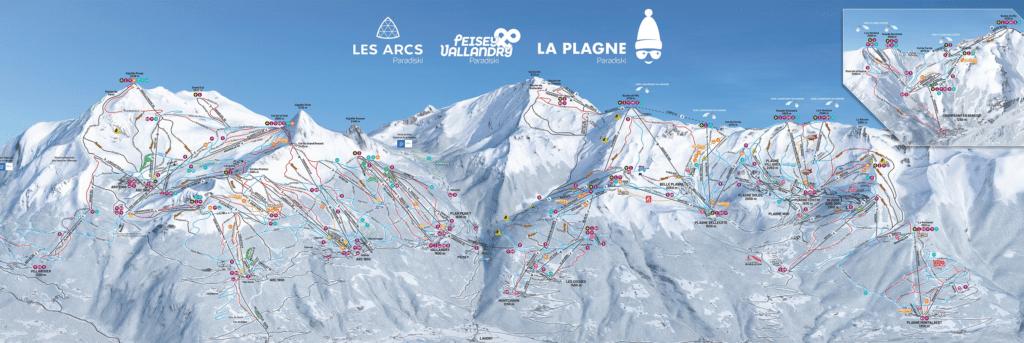 Paradiski - Les Arcs & La Plagne - Plan des pistes de ski