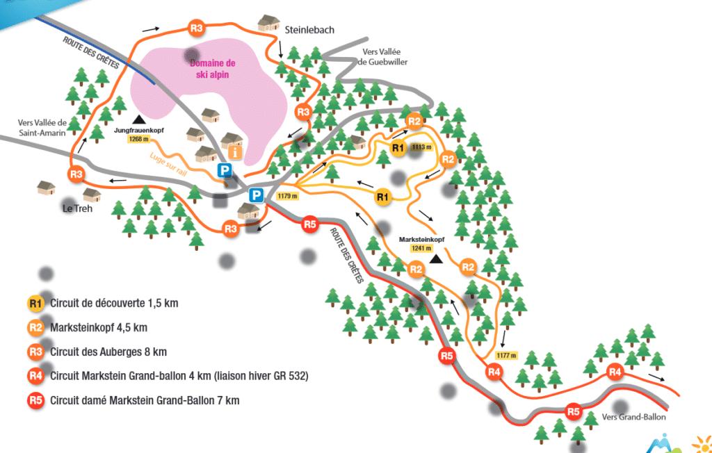 Plan des chemins de raquettes à markstein