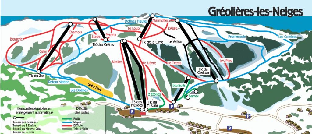 Plan des pistes de ski de Gréolières les Neiges