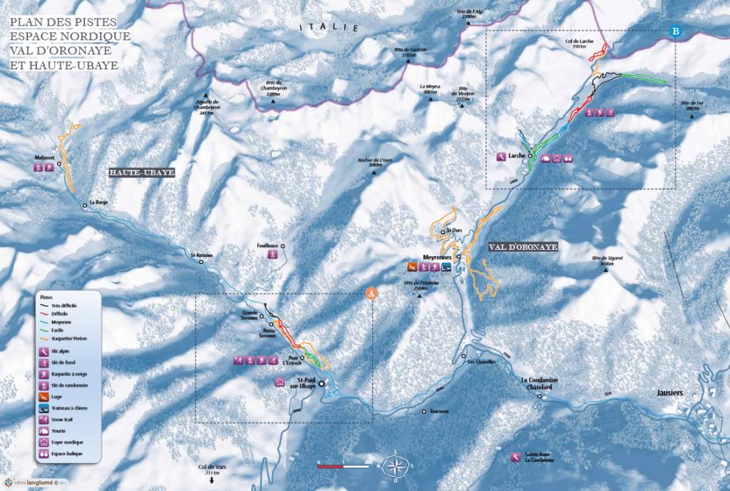 Plan du domaine nordique de Haute-Ubaye