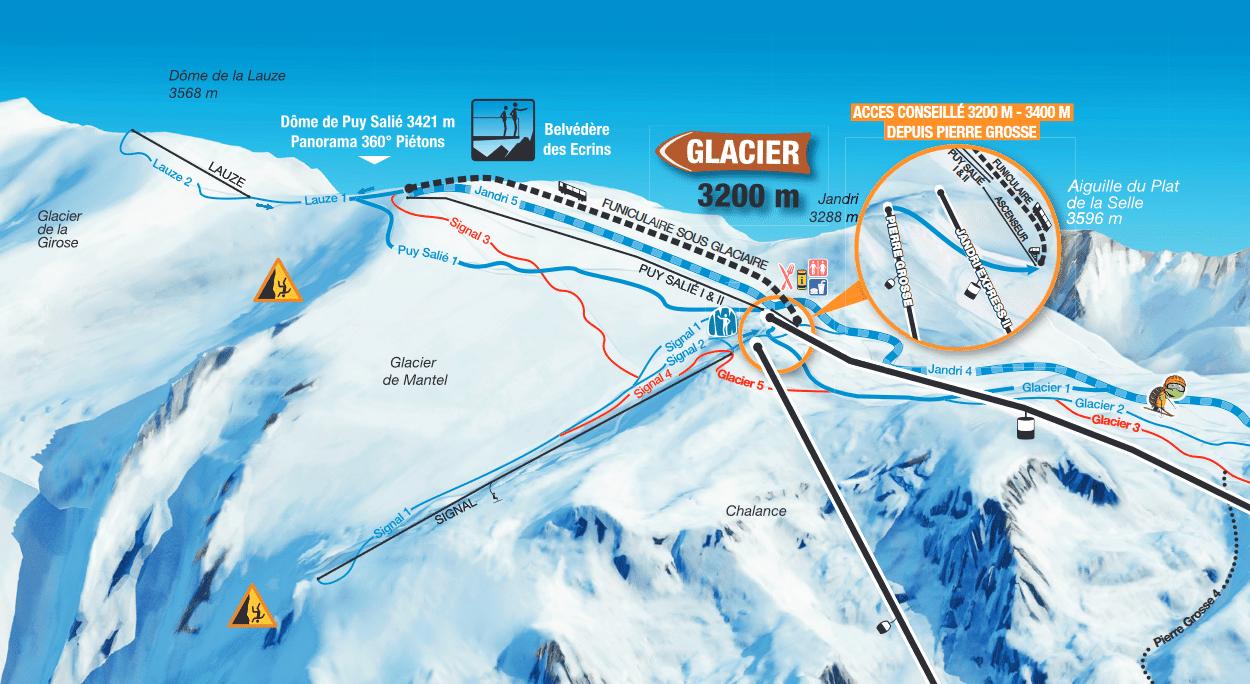 Plan du glacier des 2 alpes