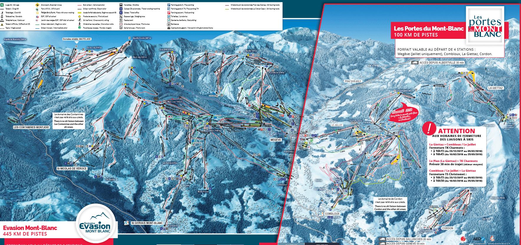Portes du Mont-Blanc - Plan des pistes de ski