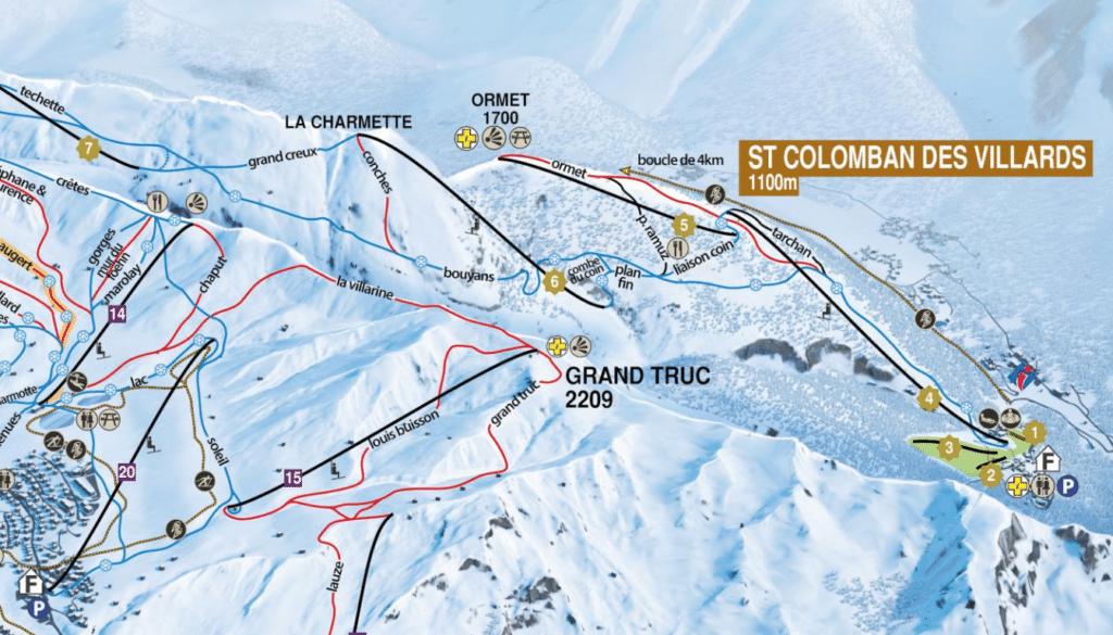 Saint Colomban des villards - Plan des pistes de ski