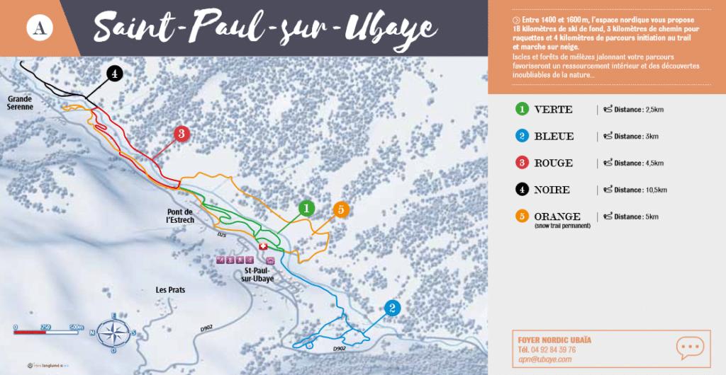 Saint Paul sur Ubaye - Plan des pistes de ski de fond