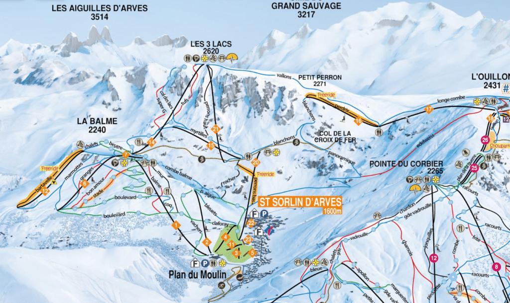 Saint Sorlin d'Arves - Plan des pistes de ski