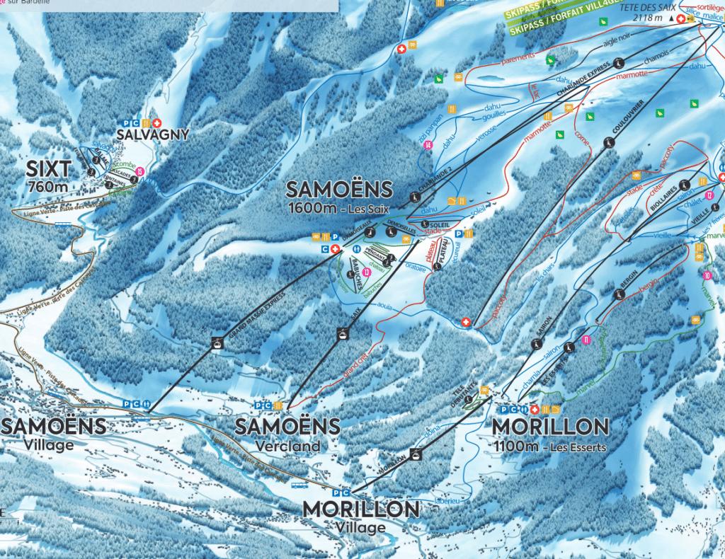 Samoens - Plan des pistes de ski