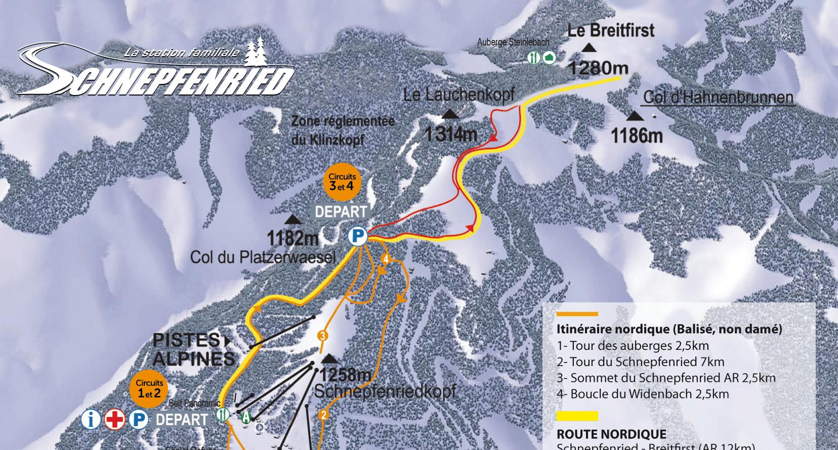 Schnepfenried - plan des pistes de ski de fond