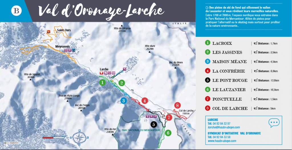 Val Oronaye - Plan des pistes de ski de fond et randonnées à ski
