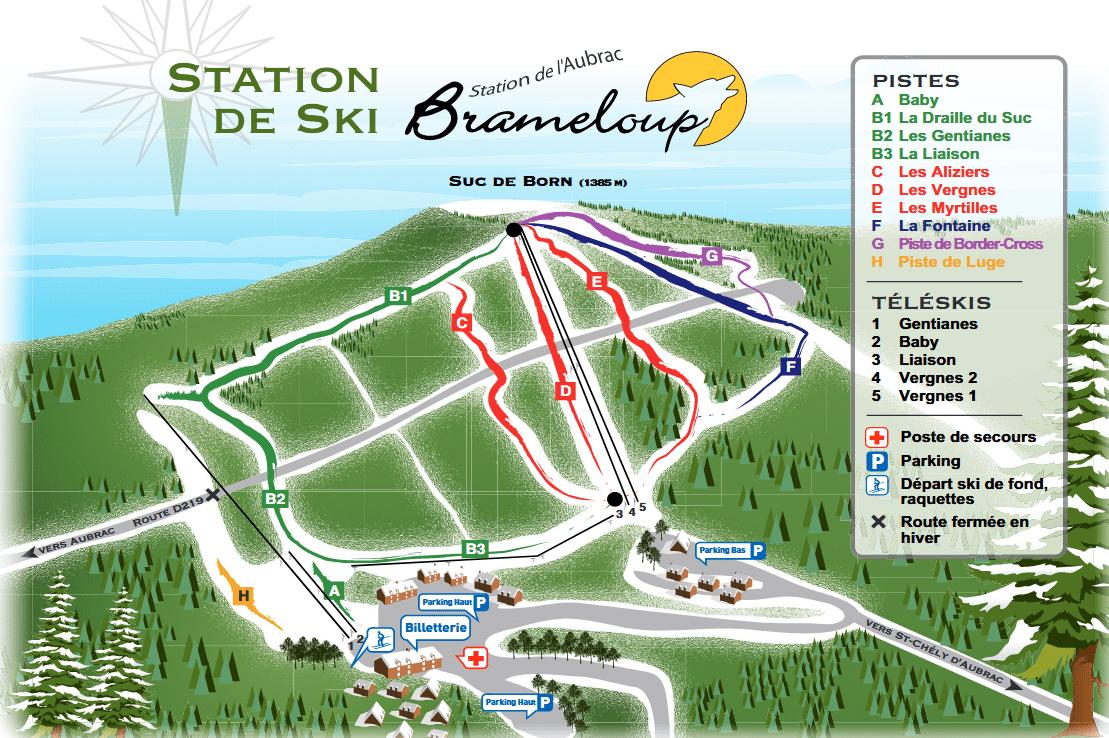 brameloup - plan des pistes de ski