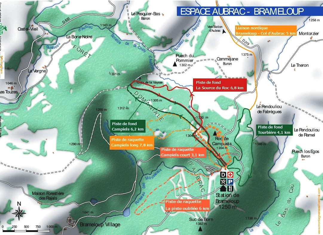 brameloup plan raquette ski de fond