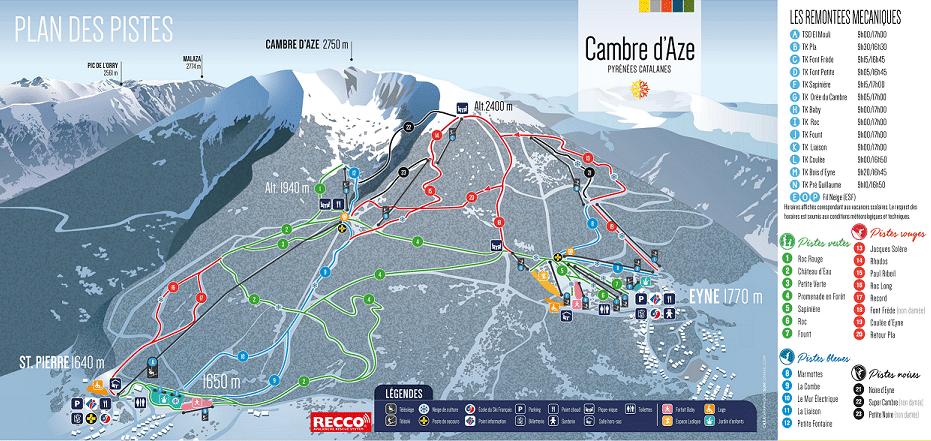 cambre daze plan des pistes de ski