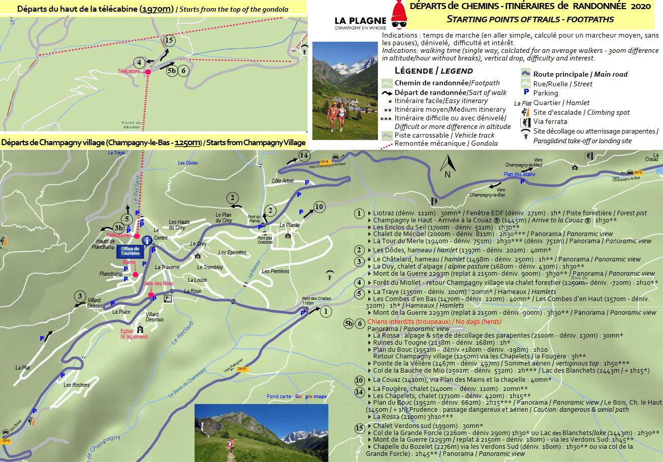 Champagny en vanoise plan randonnée
