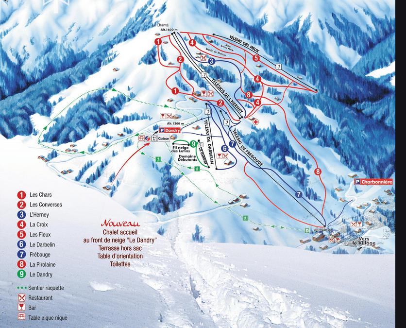 cordon plan des piste de ski