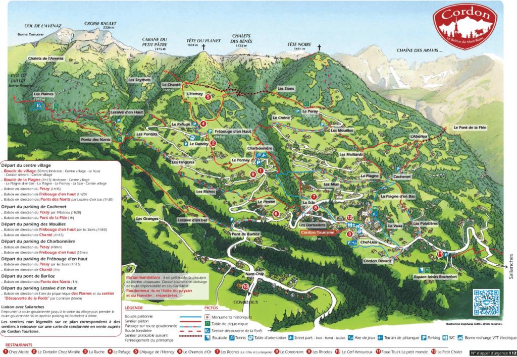 Cordon - Plan des randonnées d'été