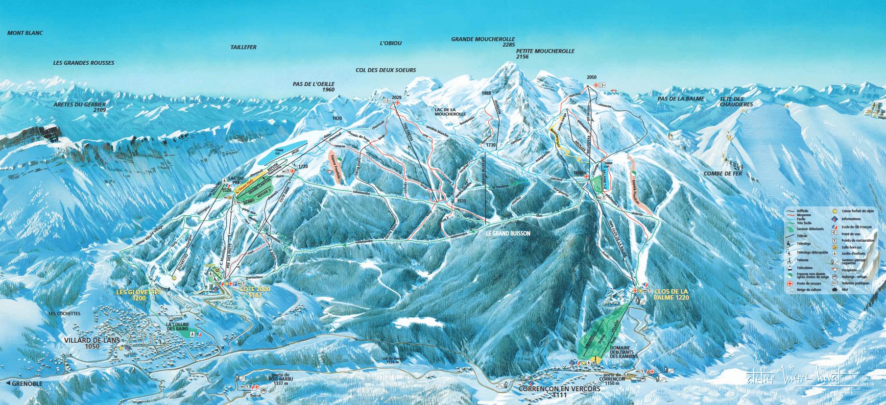 Correncon en Vercors - Plan des pistes de ski